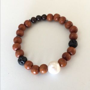 Freshwater pearl Lava bead stretchy wood bracelet